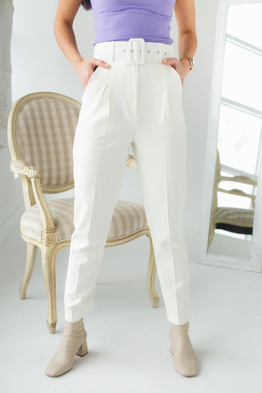 Трендовые брюки с высокой талией и поясом  PERRY - молочный цвет