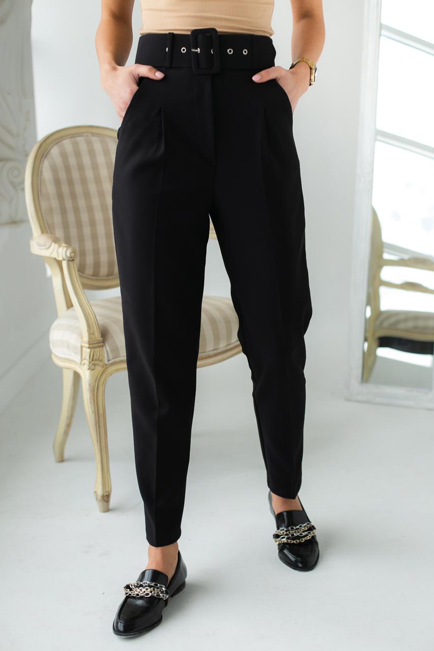 Трендовые брюки с высокой талией и поясом  PERRY - черный цвет