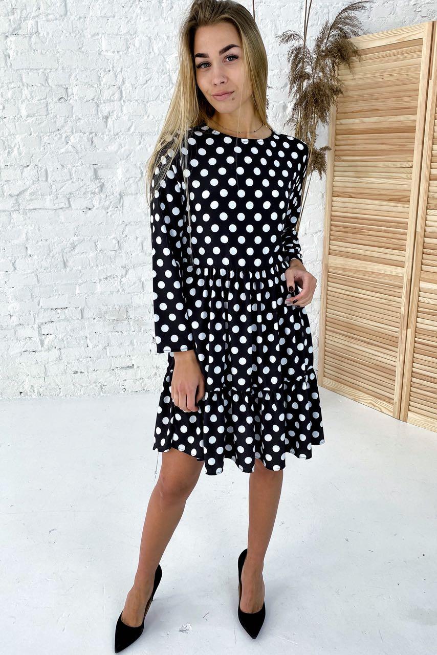 Милейшее платье в горох с акцентированной линией талии  Clew - белый с черным цвет