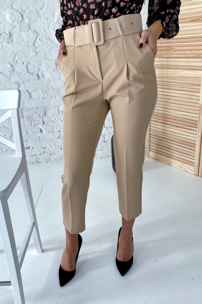 Актуальные брюки с поясом и карманами  YARE - бежевый цвет