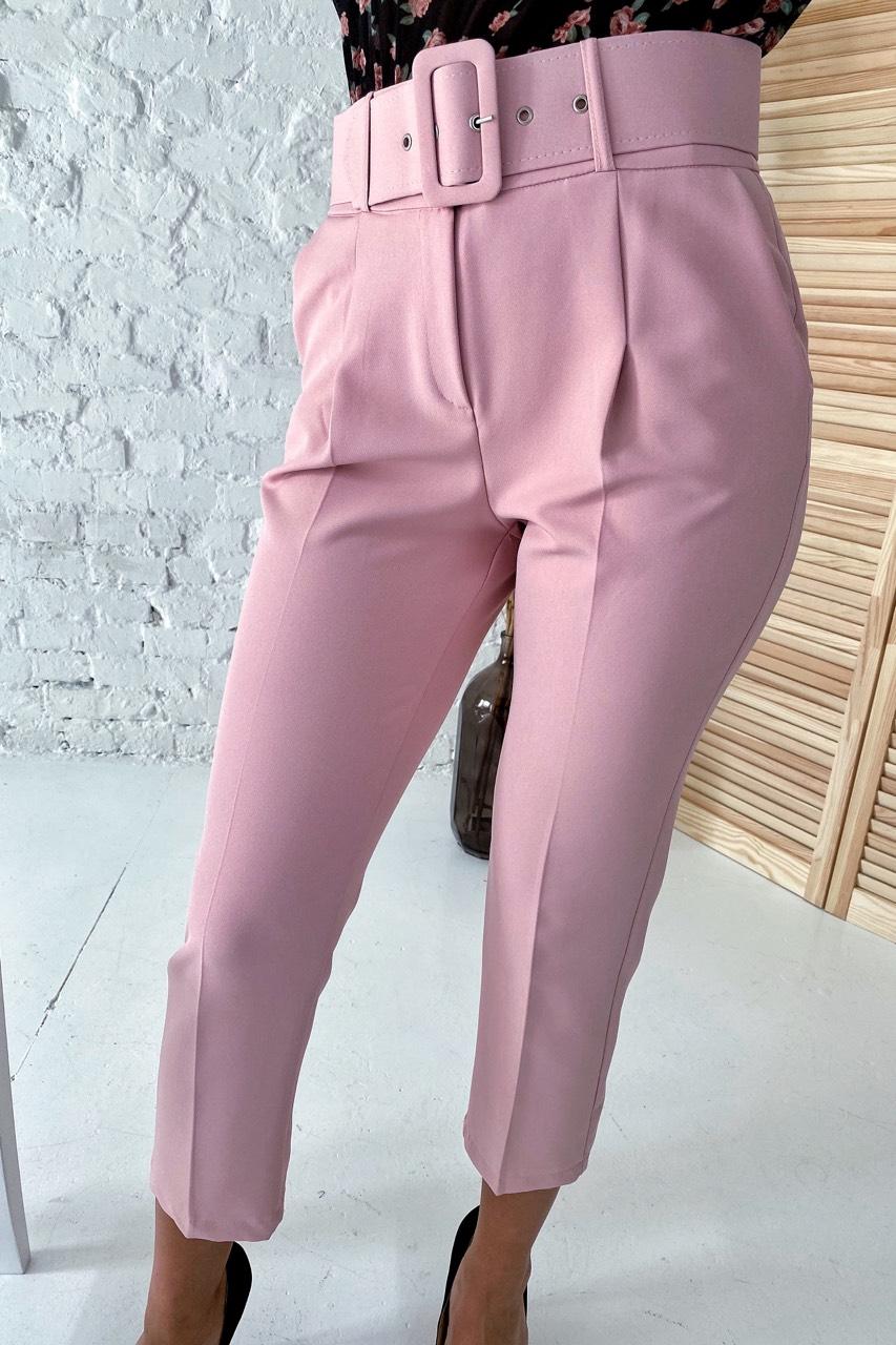 Актуальные брюки с поясом и карманами  YARE - пудра цвет