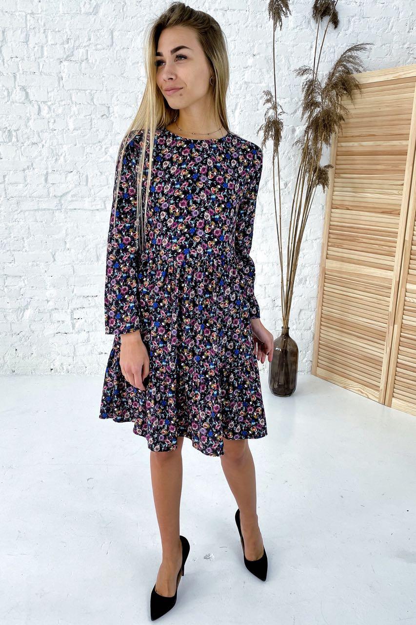 Романтичное платье в цветочный принт с рюшами Clew - синий цвет