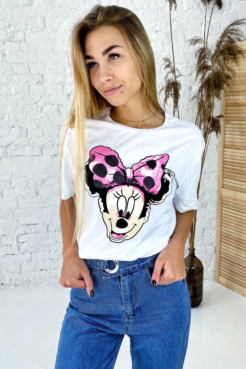 Модная футболка с принтом Минни Маус  LUREX - белый цвет