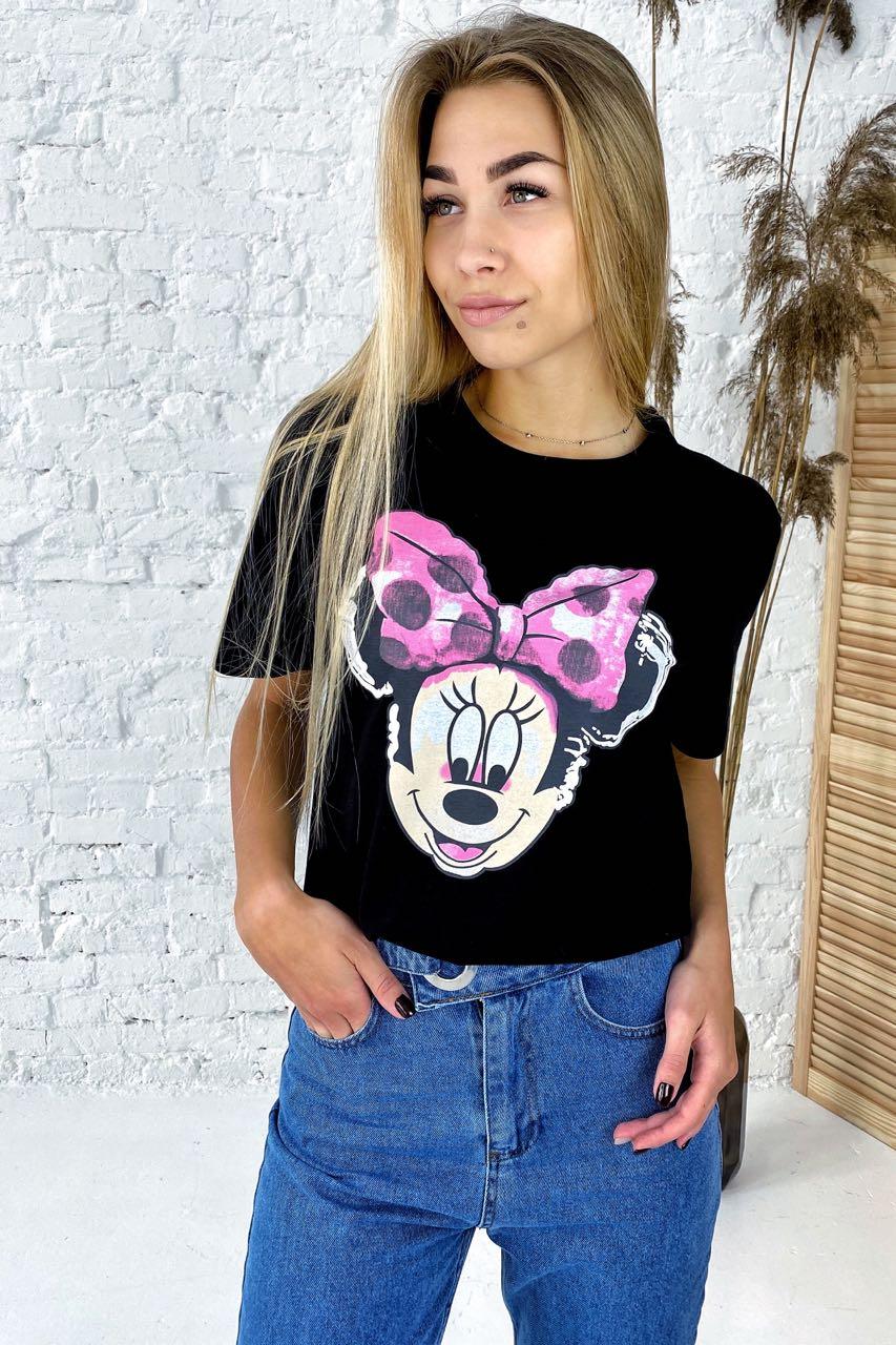 Модная футболка с принтом Минни Маус  LUREX - черный цвет
