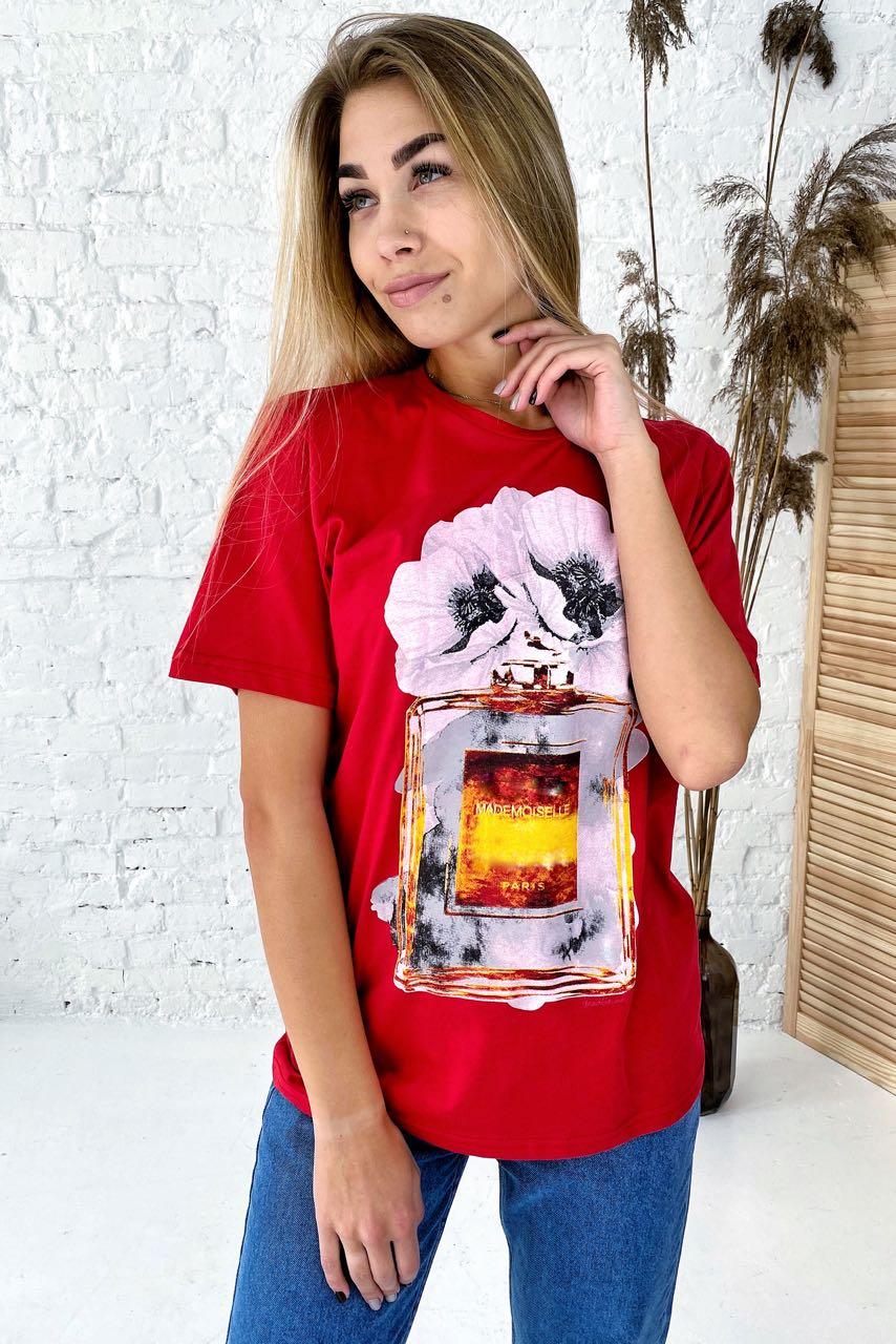Фешенебельная футболка с принтом парфюм и цветы LUREX - красный цвет
