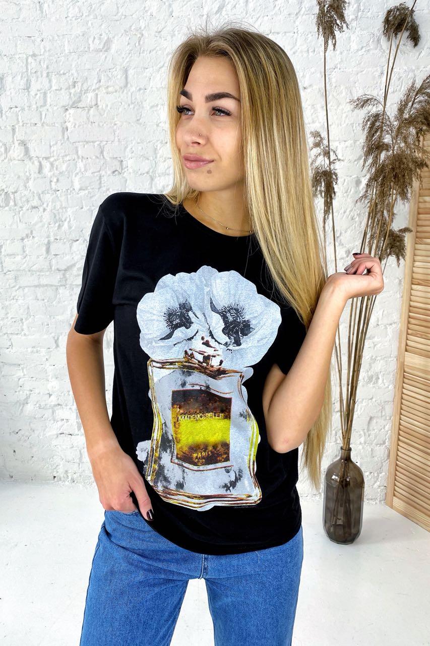 Фешенебельная футболка с принтом парфюм и цветы LUREX - черный цвет