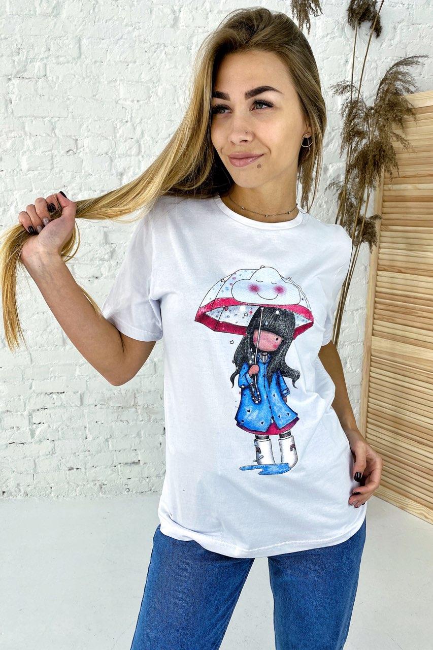 Милая хлопковая футболка с принтом девочка зонтик  LUREX - белый цвет