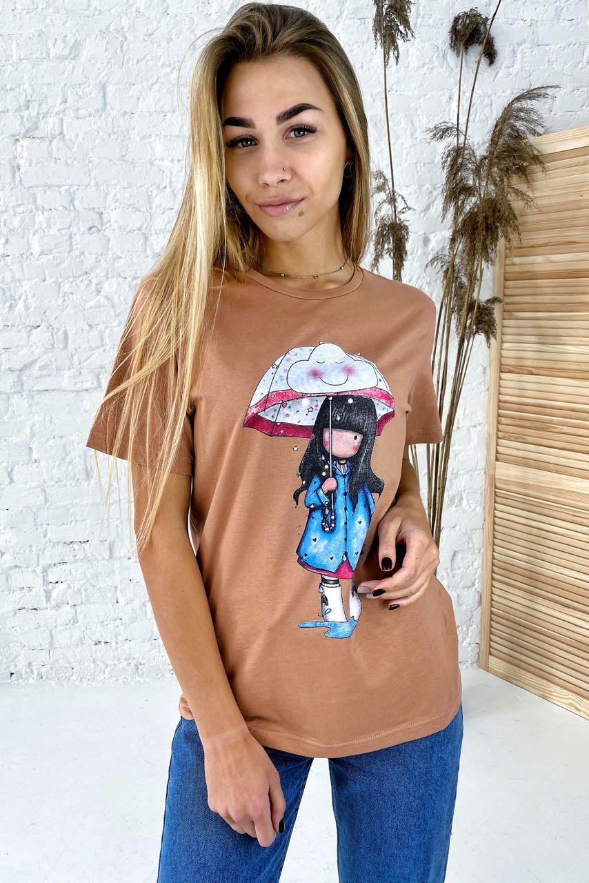 Милая хлопковая футболка с принтом девочка зонтик  LUREX - коричневый цвет