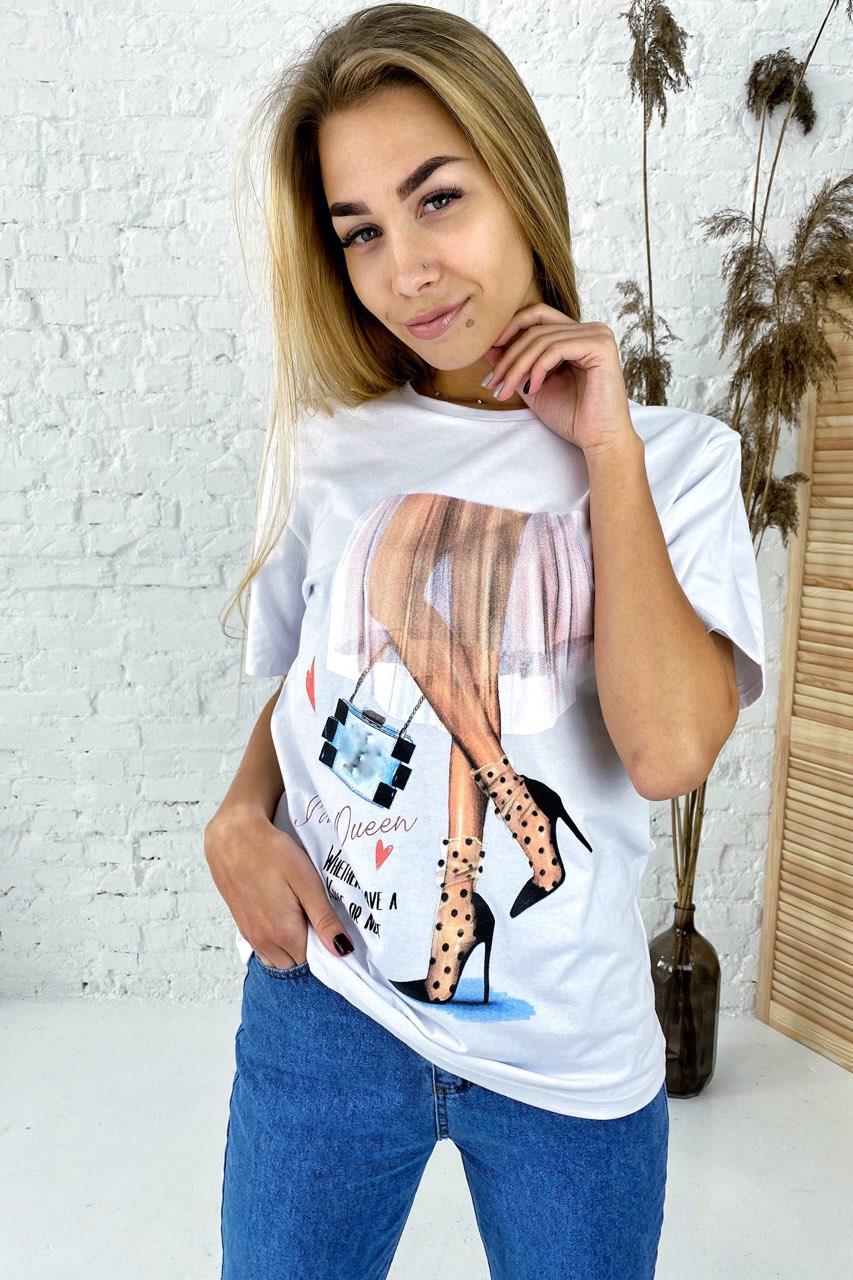Интересная футболка с оригинальным принтом  LUREX - белый цвет