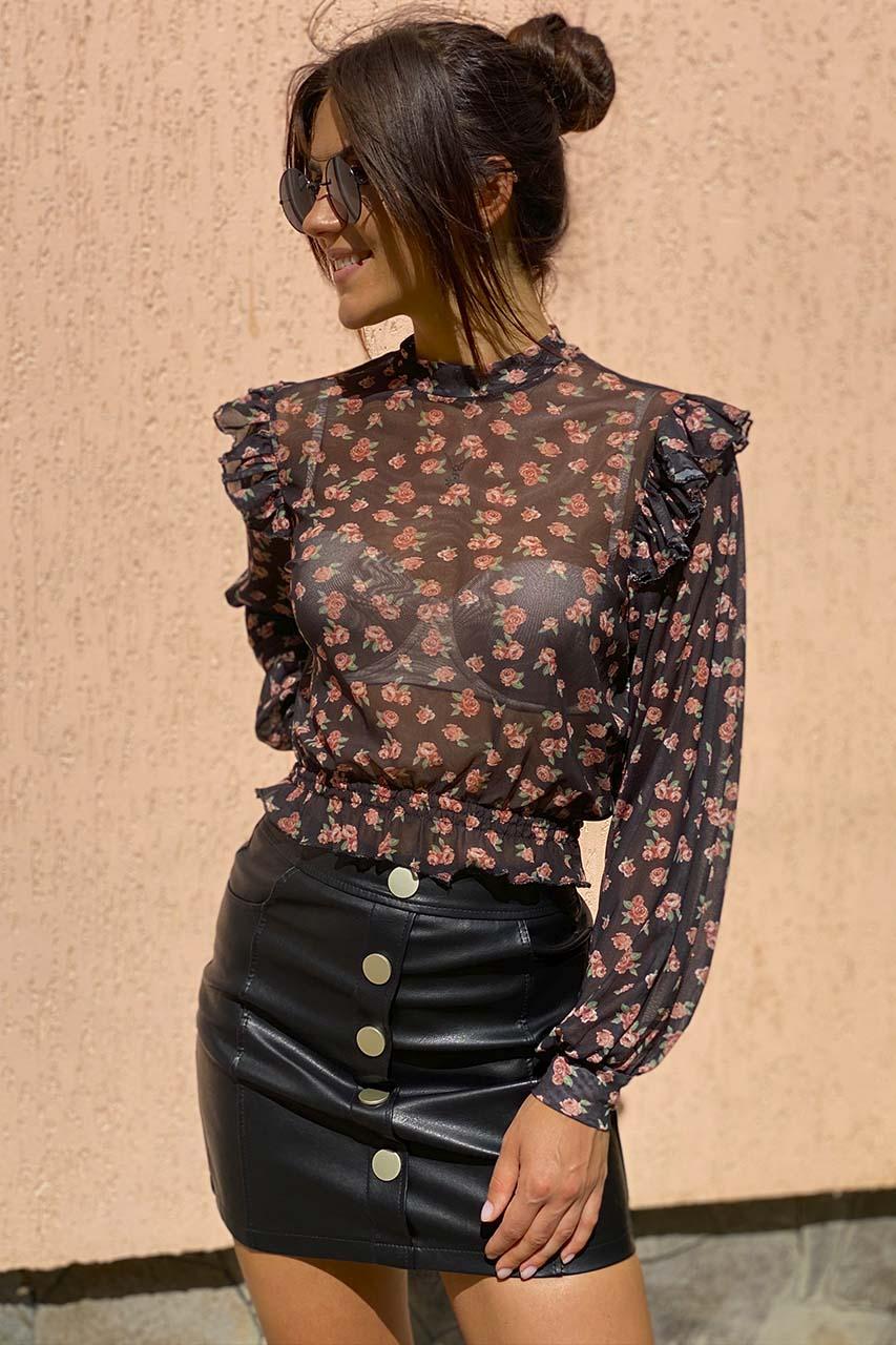 Бесподобная блуза сетка с принтом розы Crep - черный цвет