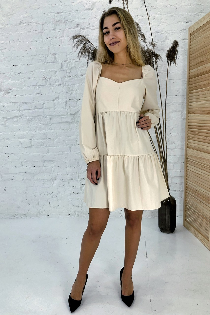 Изысканное платье с завышенной линией талии Clew - молочный цвет