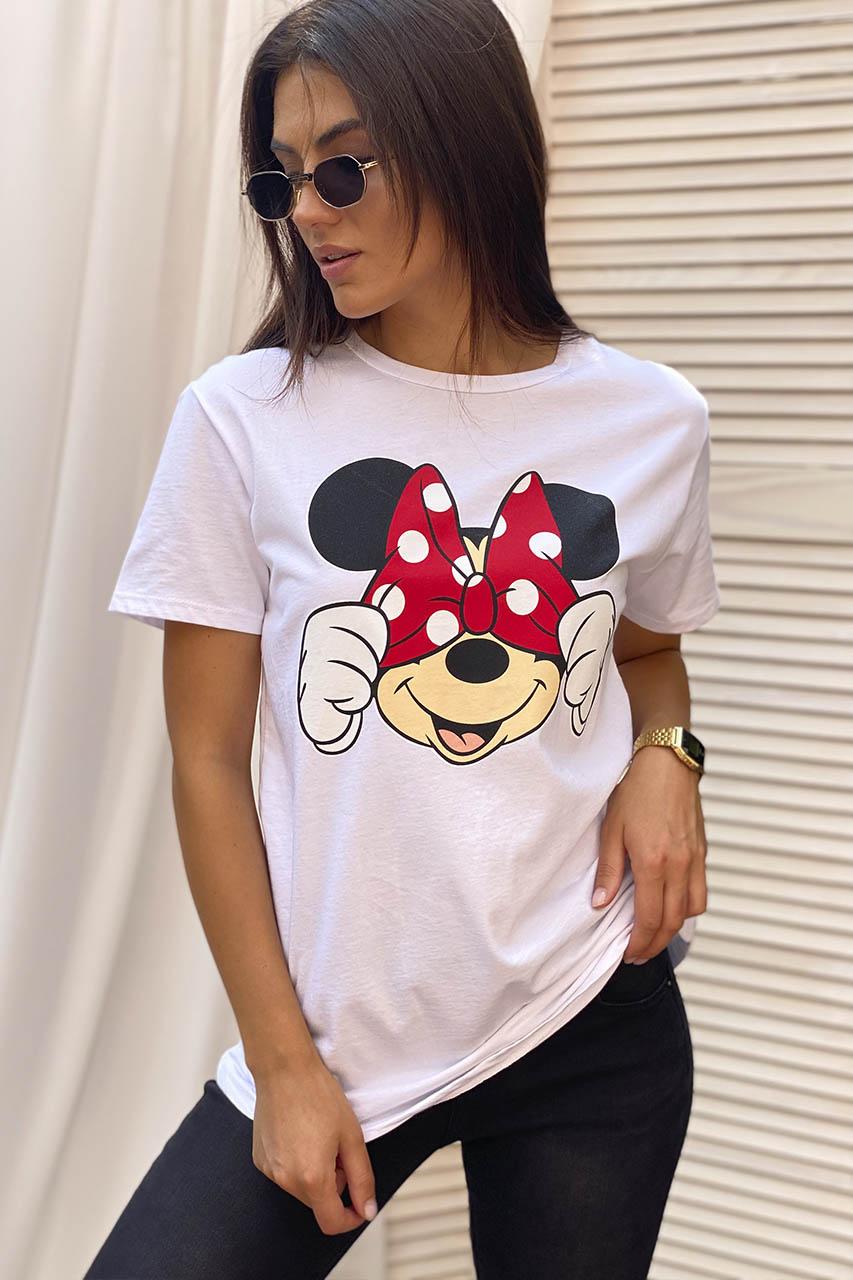 Молодежная футболка с Минни и бантиком  LUREX - белый цвет