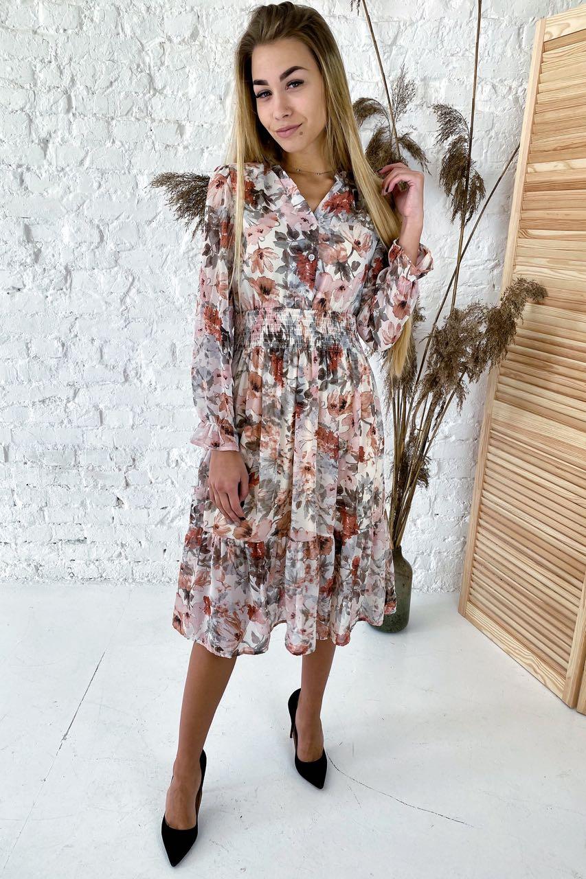 Нереально красивое платье длины миди с акварельным принтом  Sensation Life  - молочный цвет