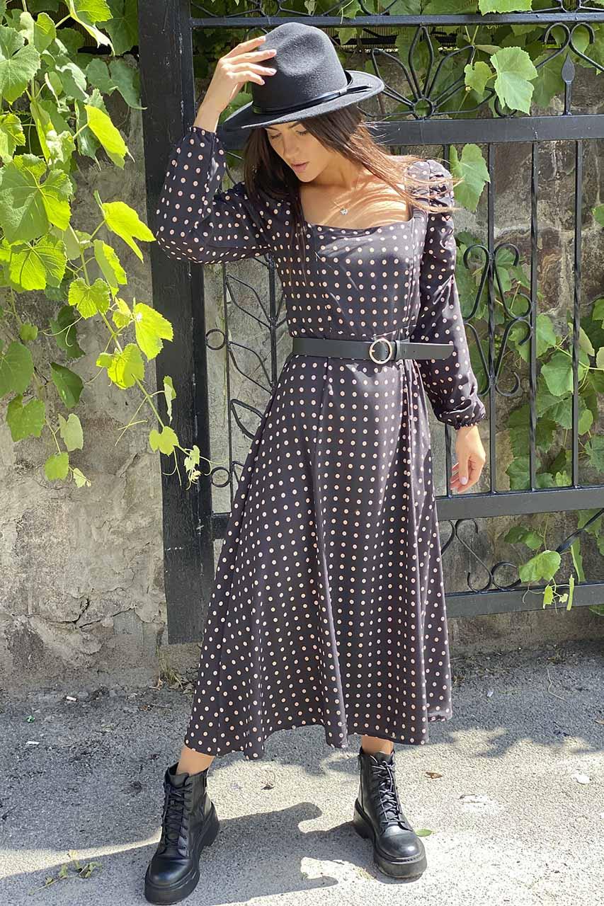 Шикарное длинное платье с необычными рукавами  Clew - черный цвет