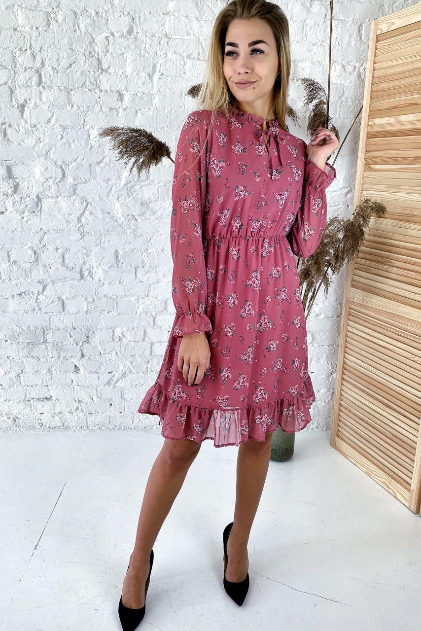 Милое шифоновое платье с нежным цветочным узором  Sensation Life  - розовый цвет