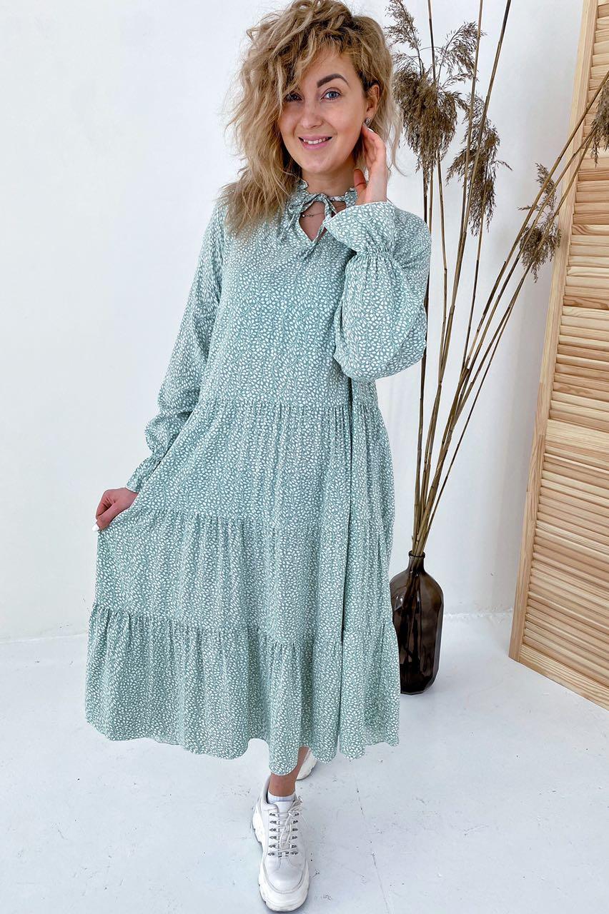 Необычное платье миди с флористическим узором  VOOL Style - мятный цвет