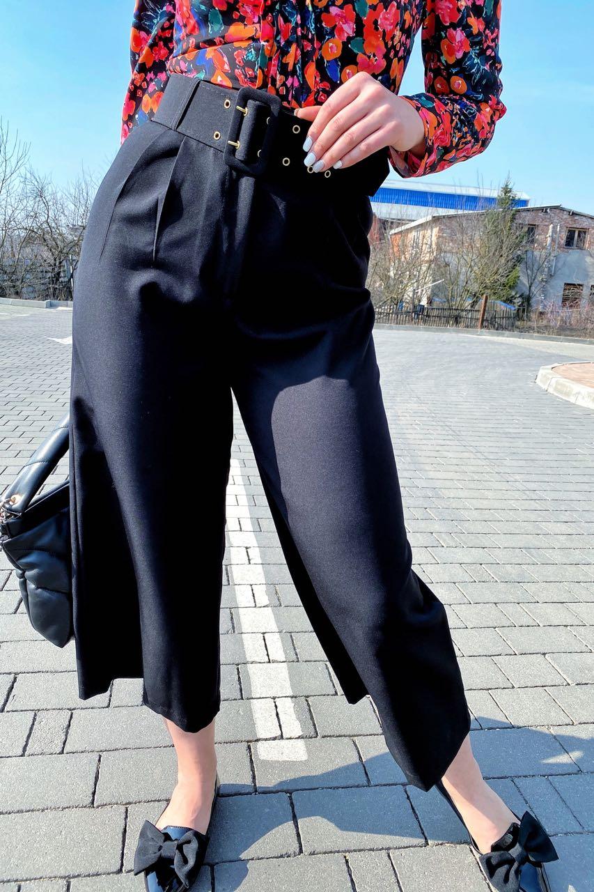 Шикарные кюлоты с высокой талией  PERRY - черный цвет