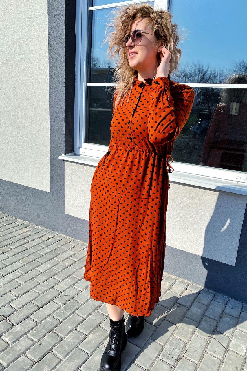 Платье миди в горох с поясом на завязках и карманами Pintore - терракотовый цвет