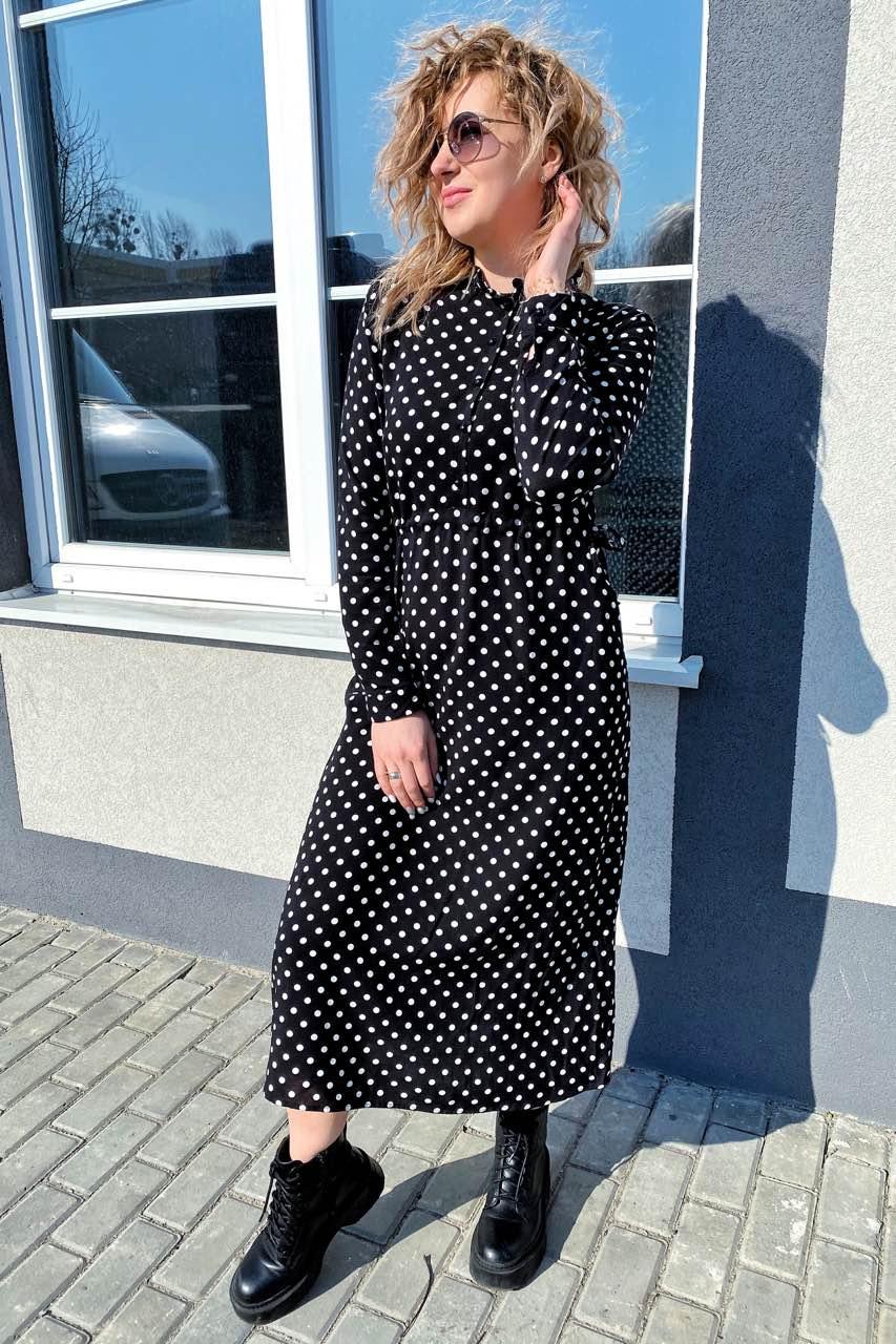 Платье миди в горох с поясом на завязках и карманами Pintore - черный цвет