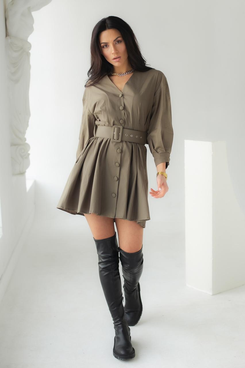 Модное платье на пуговицах с трендовым поясом  PERRY - хаки цвет