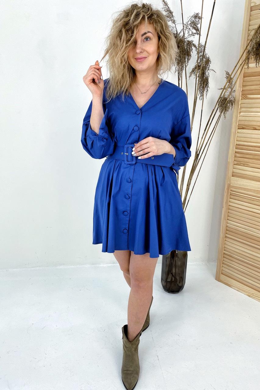 Модное платье на пуговицах с трендовым поясом  PERRY - синий цвет