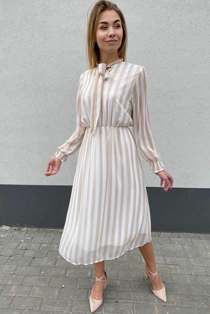 Элегантное платье миди в полоску Pintore - бежевый цвет