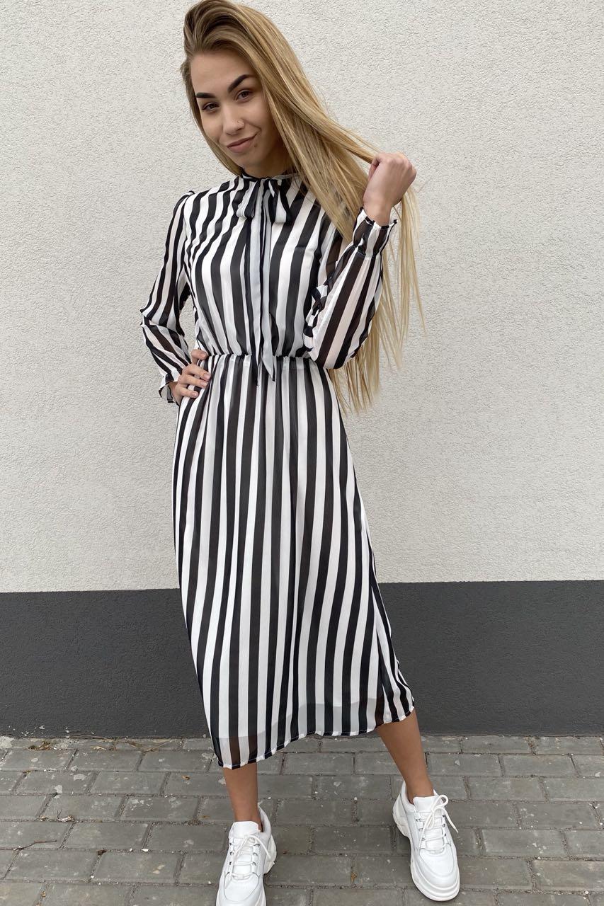 Элегантное платье миди в полоску Pintore - черный цвет