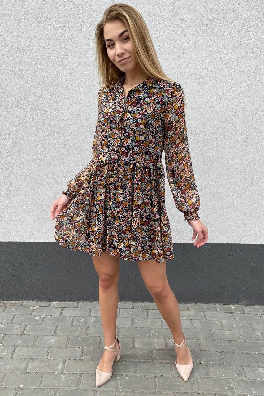 Стильное платье из шифона в принт цветы Cazibe - горчичный цвет
