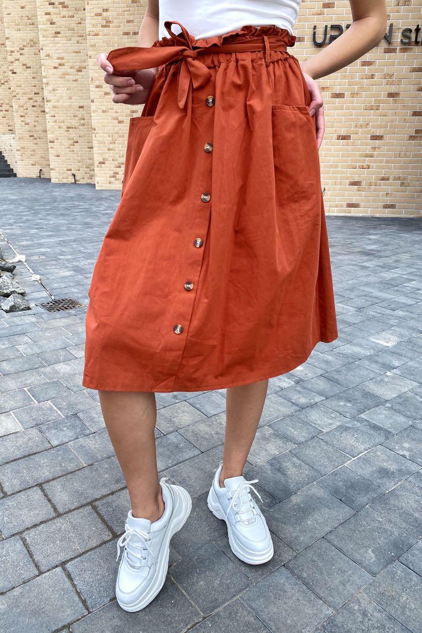 Юбка миди с поясом декорированная пуговицами LUREX - терракотовый цвет
