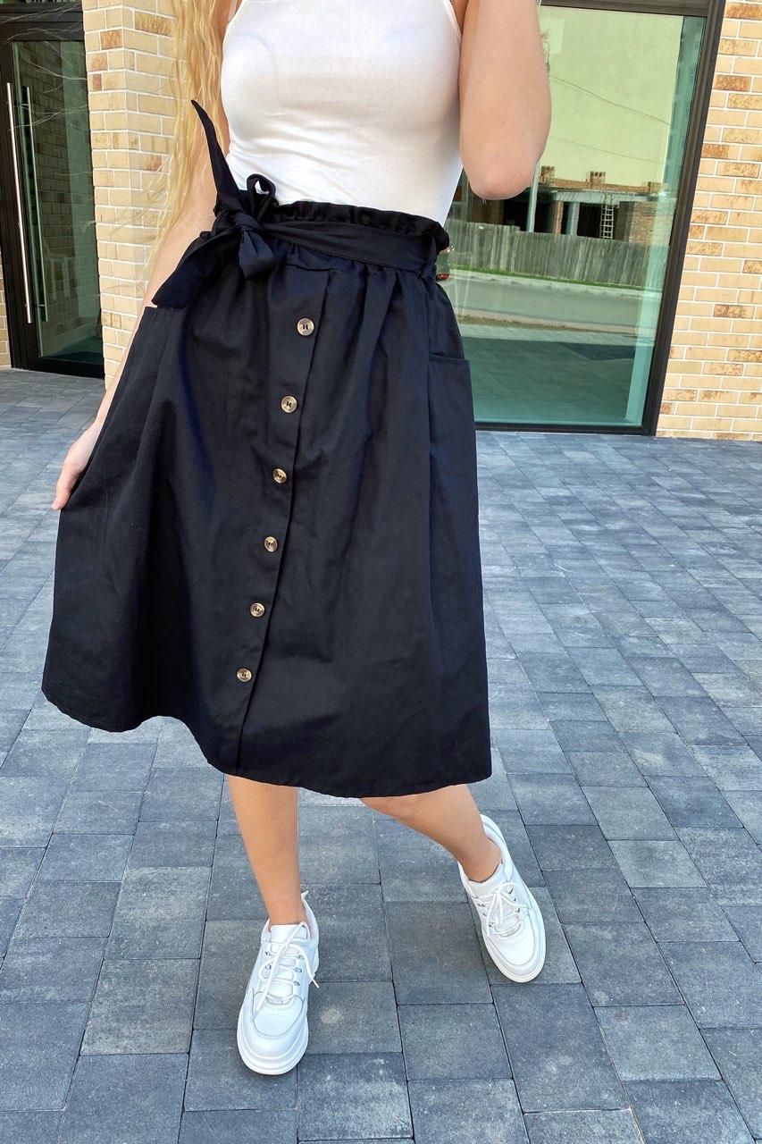 Юбка миди с поясом декорированная пуговицами LUREX - черный цвет