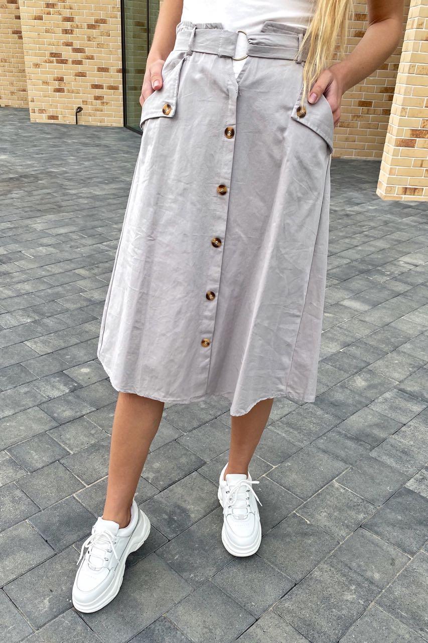 Летняя юбка миди с оригинальным поясом  LUREX - серый цвет