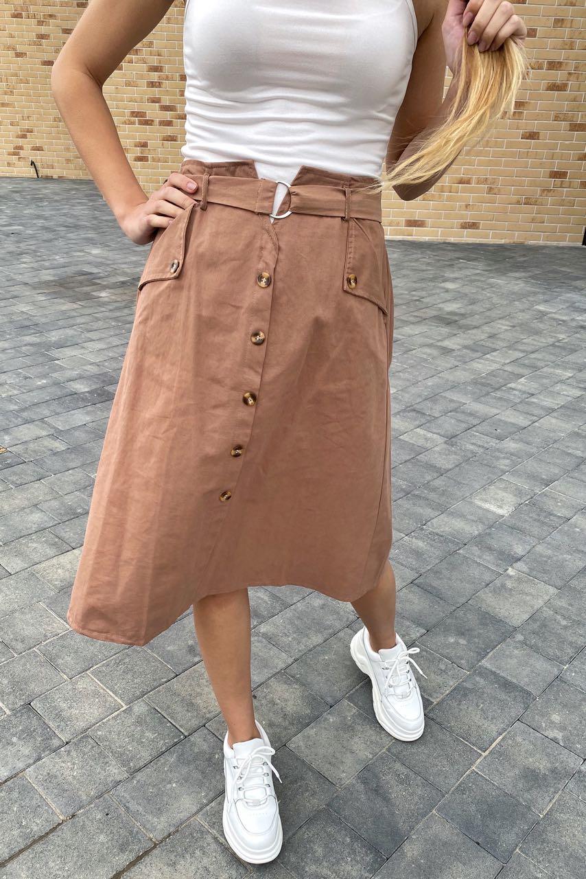 Летняя юбка миди с оригинальным поясом  LUREX - кофейный цвет