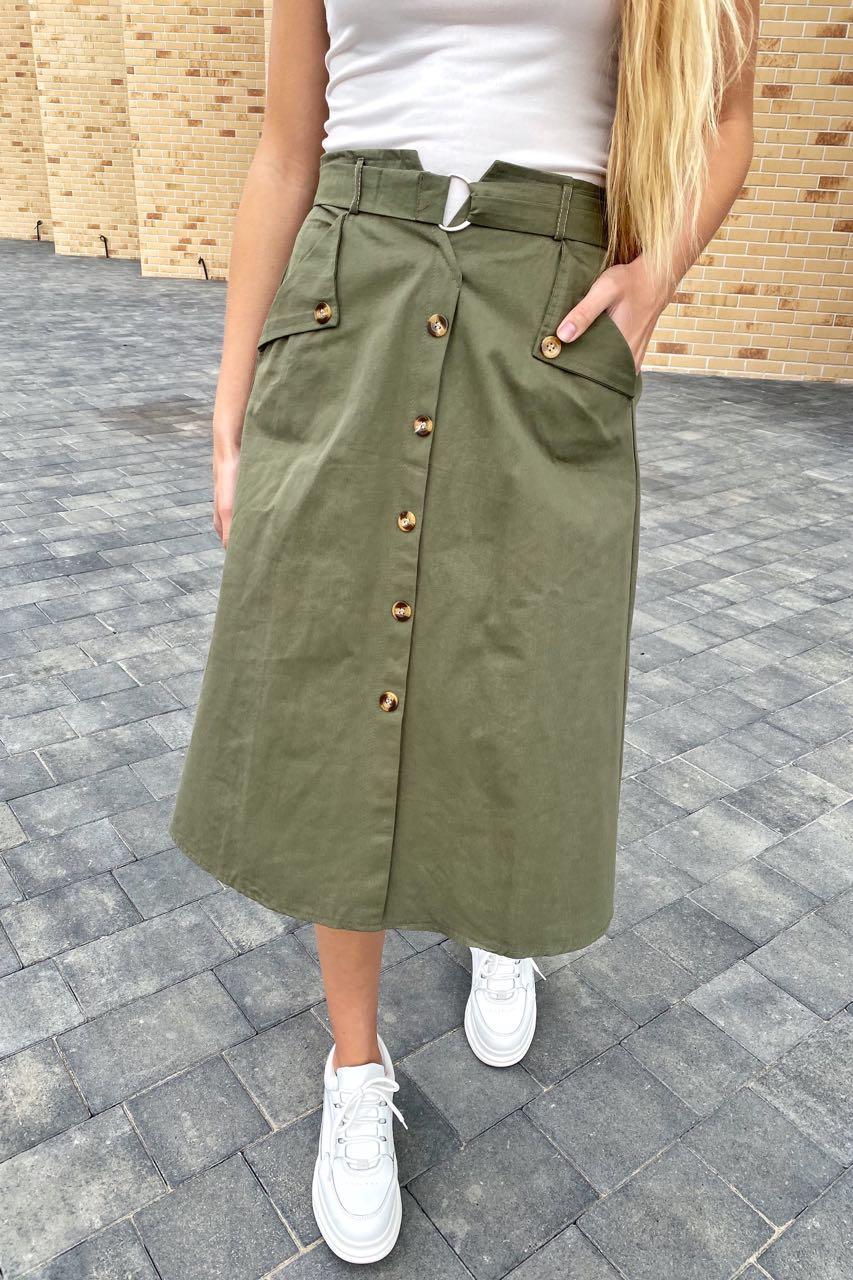 Летняя юбка миди с оригинальным поясом  LUREX - хаки цвет
