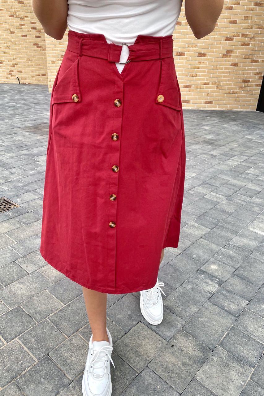 Летняя юбка миди с оригинальным поясом  LUREX - бордо цвет