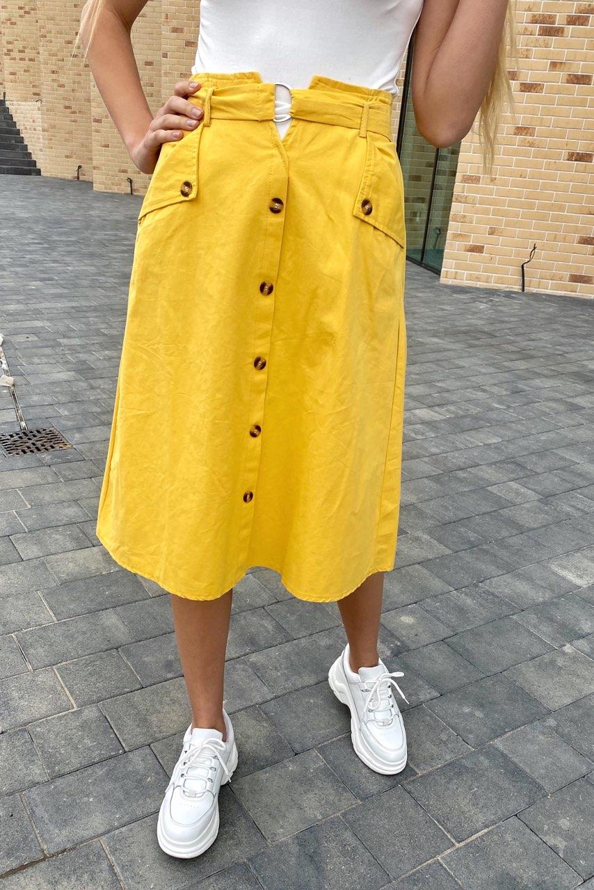Летняя юбка миди с оригинальным поясом  LUREX - желтый цвет