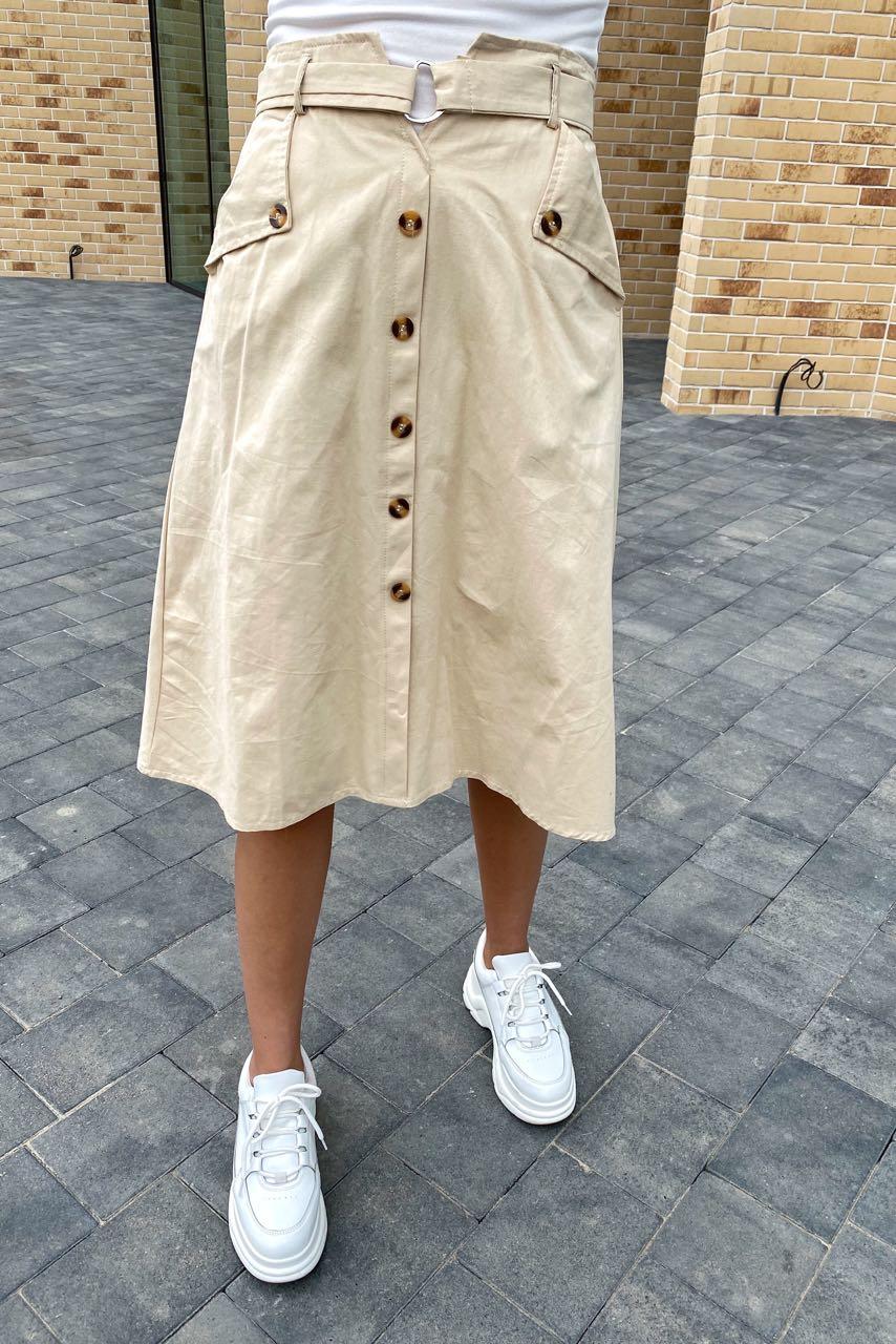 Летняя юбка миди с оригинальным поясом  LUREX - молочный цвет