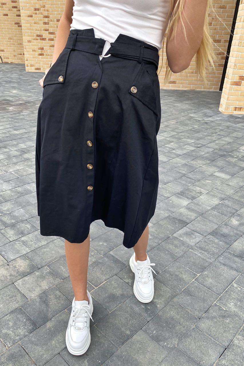 Летняя юбка миди с оригинальным поясом  LUREX - черный цвет