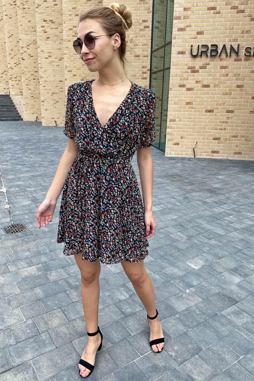 Трендовое шифоновое летнее платье  Sensation Life  - черный цвет