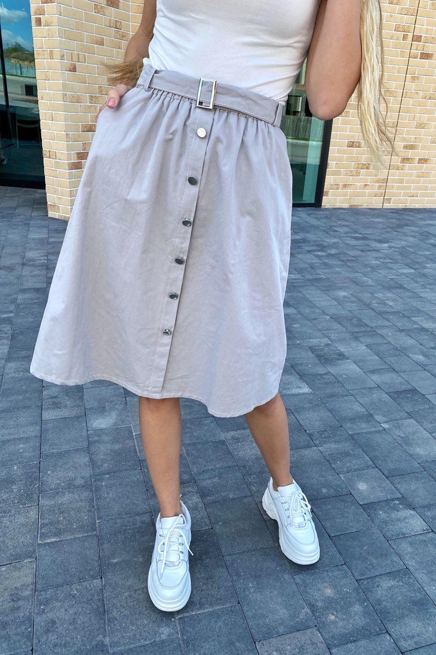 Стильная юбка миди на пуговицах  LUREX - серый цвет