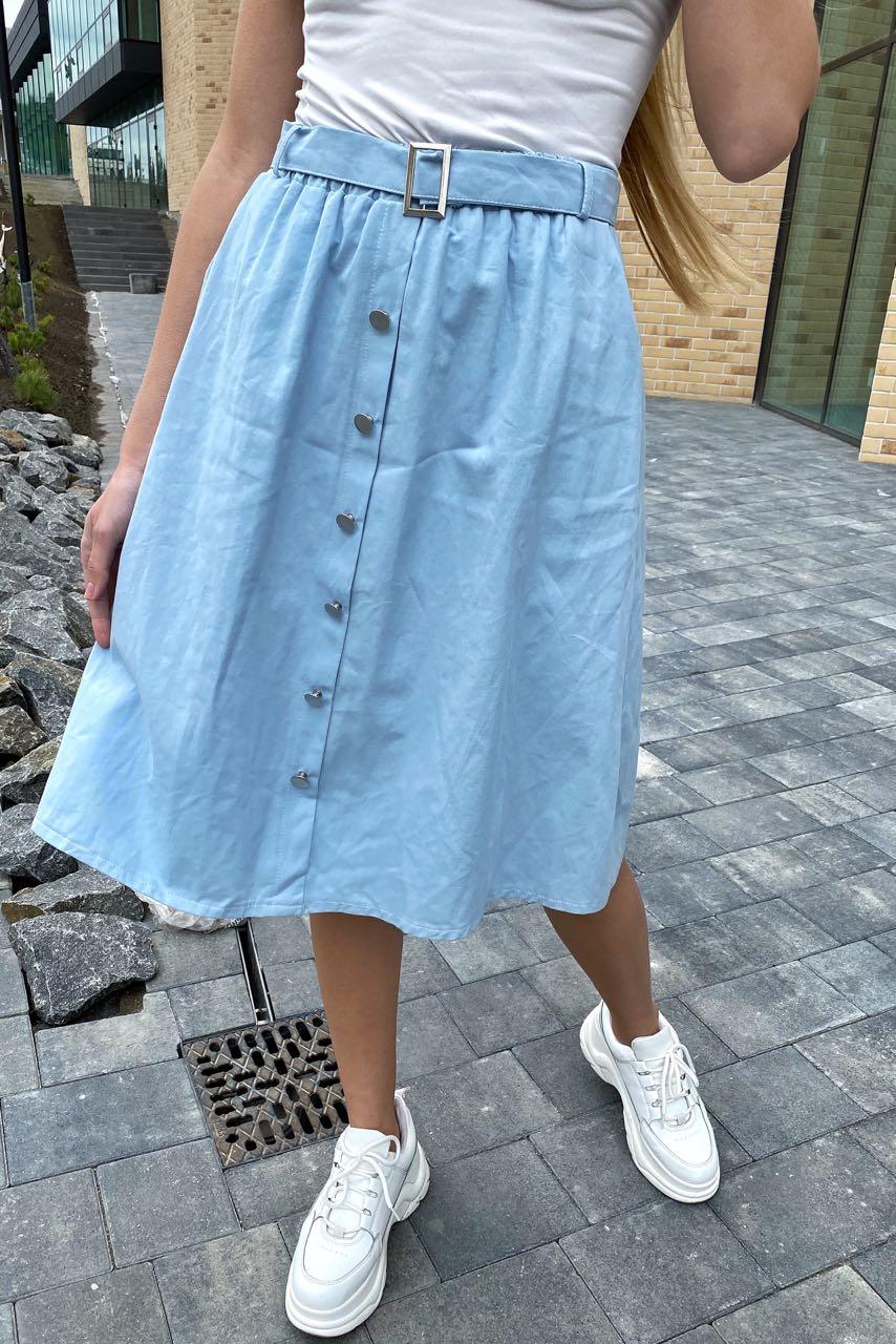 Стильная юбка миди на пуговицах  LUREX - голубой цвет