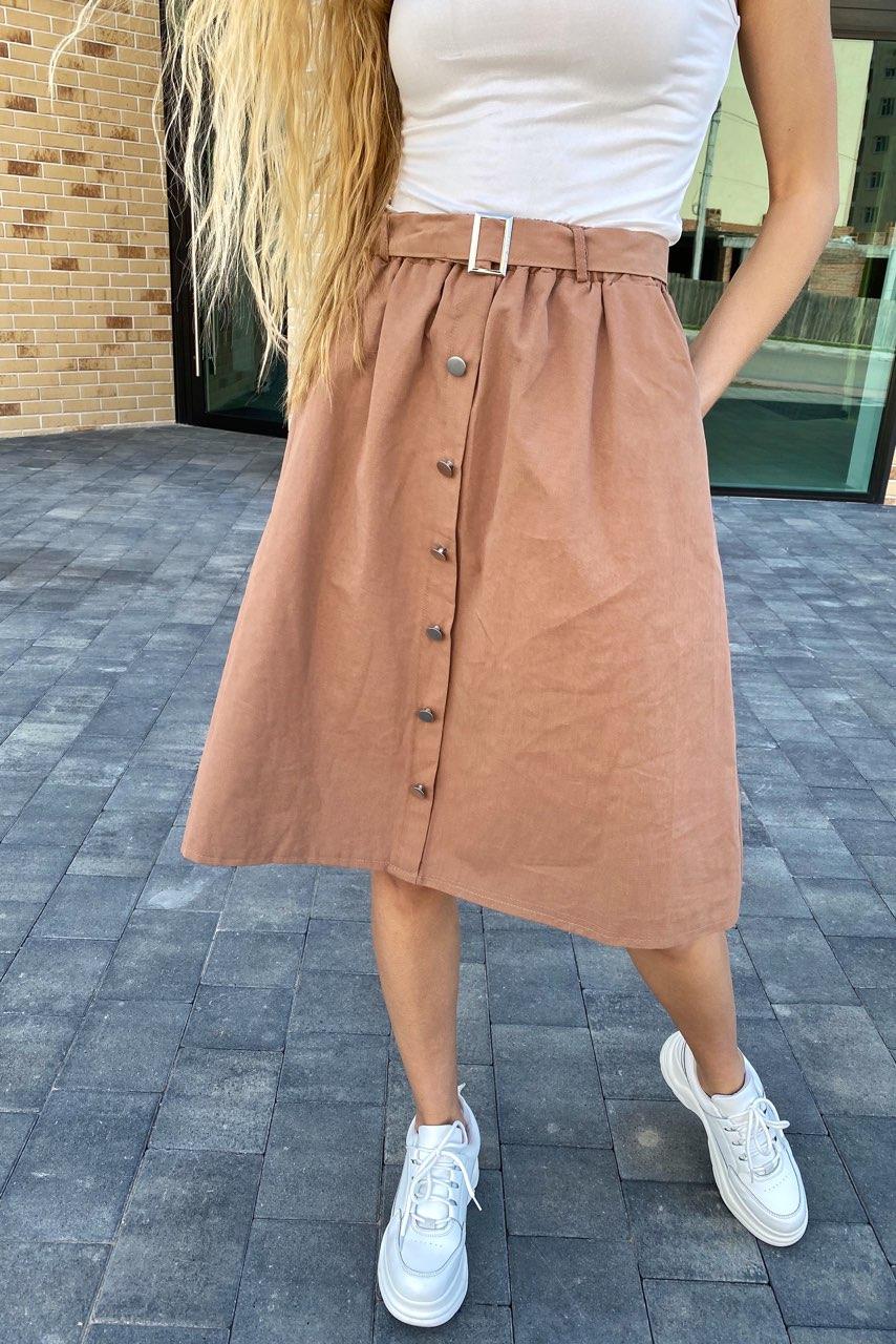 Стильная юбка миди на пуговицах  LUREX - кофейный цвет