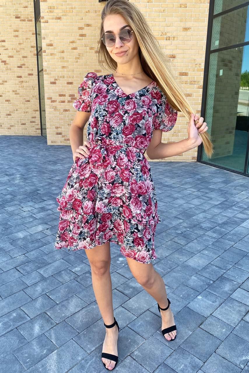 Платье на лето из шифона в цветочный принт  Pintore - розовый цвет