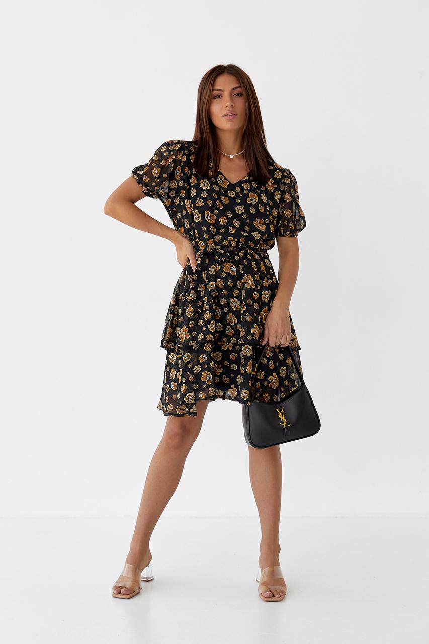Платье на лето из шифона в цветочный принт  Pintore - черный цвет