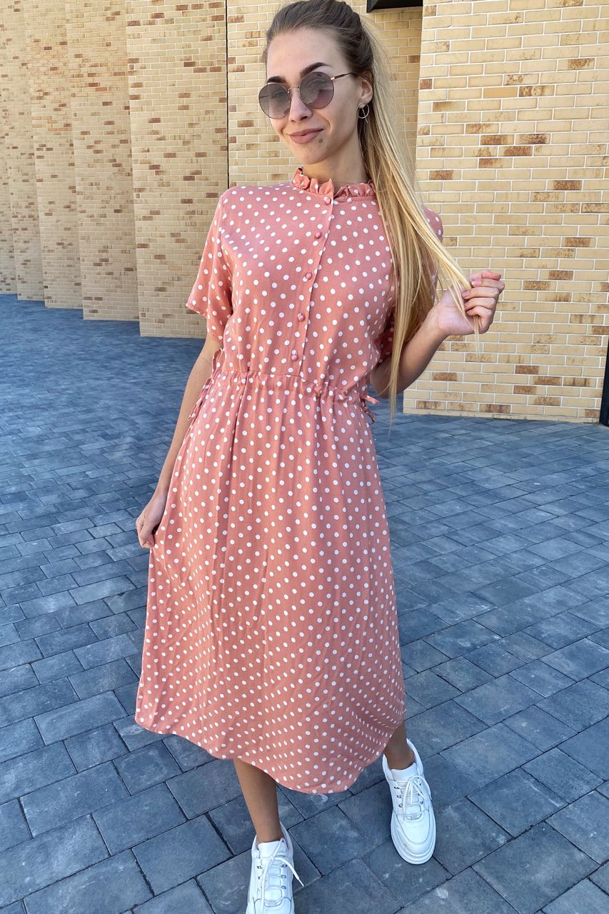 Летнее платье в горох с карманами  Pintore - персиковый цвет