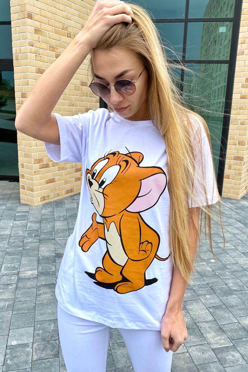 Молодежная футболка с рисунком Джерри LUREX - белый цвет