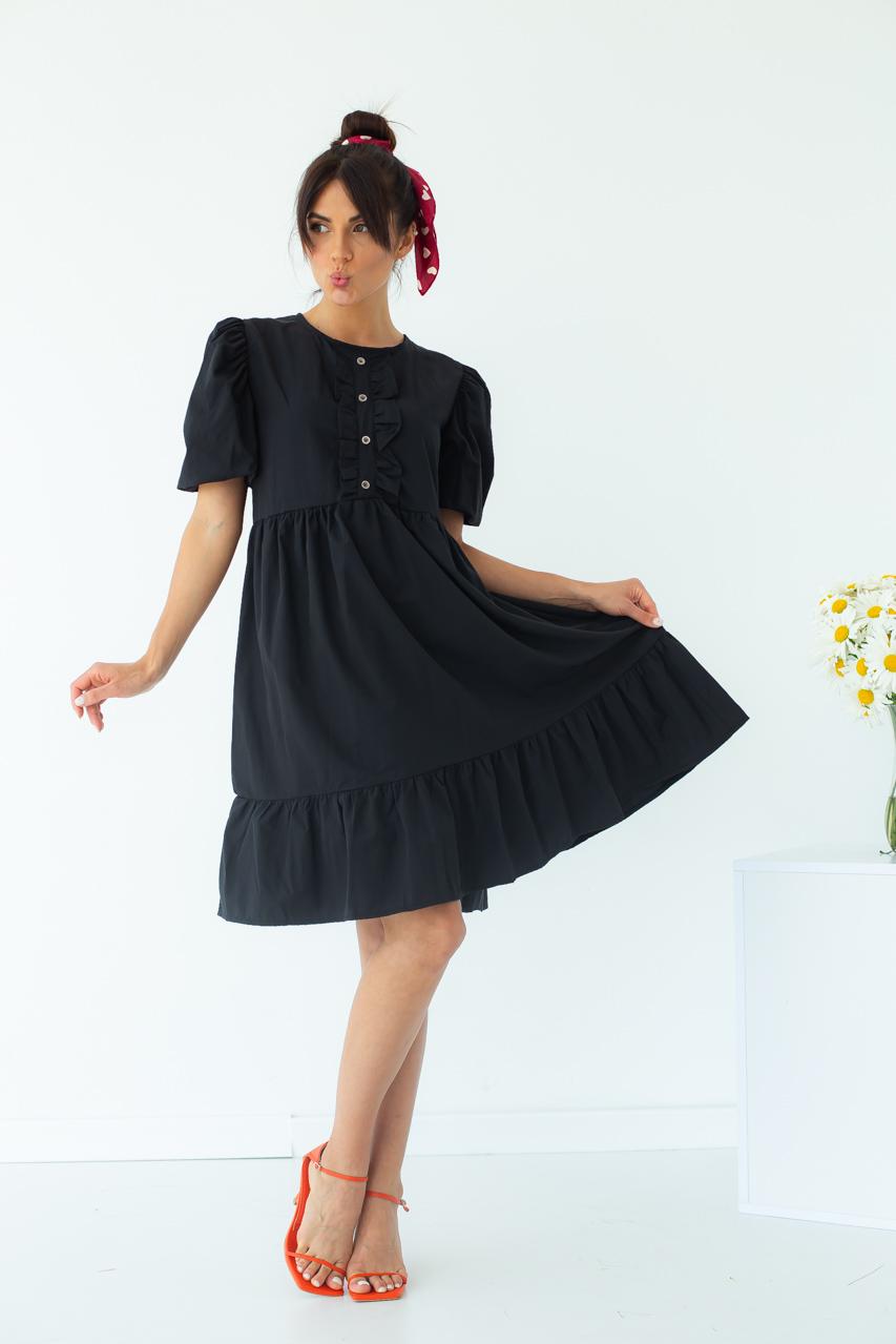 Модное летнее платье с объемными рукавами-фонариками  Crep - черный цвет