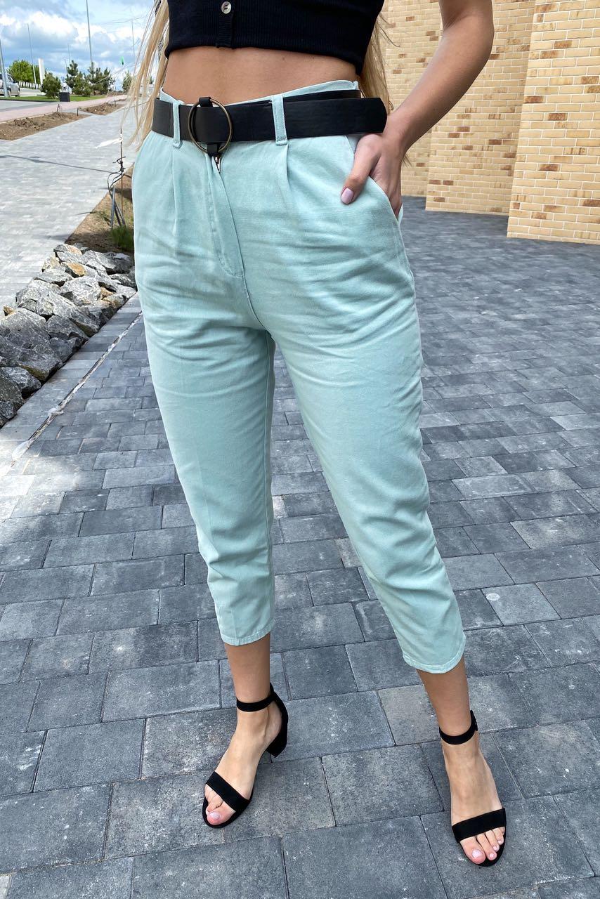 Модные женские джинсы летние с поясом  PERRY - бирюзовый цвет