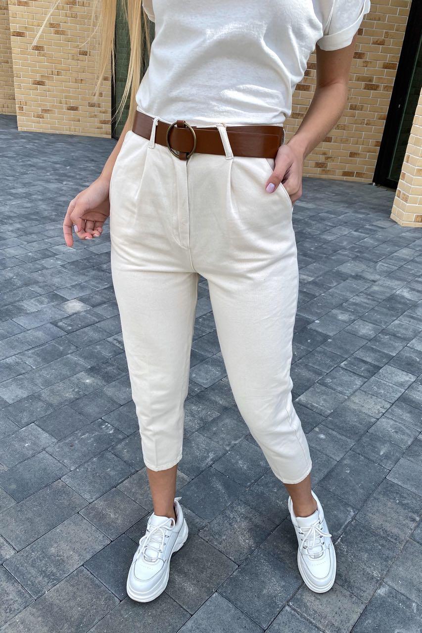 Модные женские джинсы летние с поясом  PERRY - молочный цвет