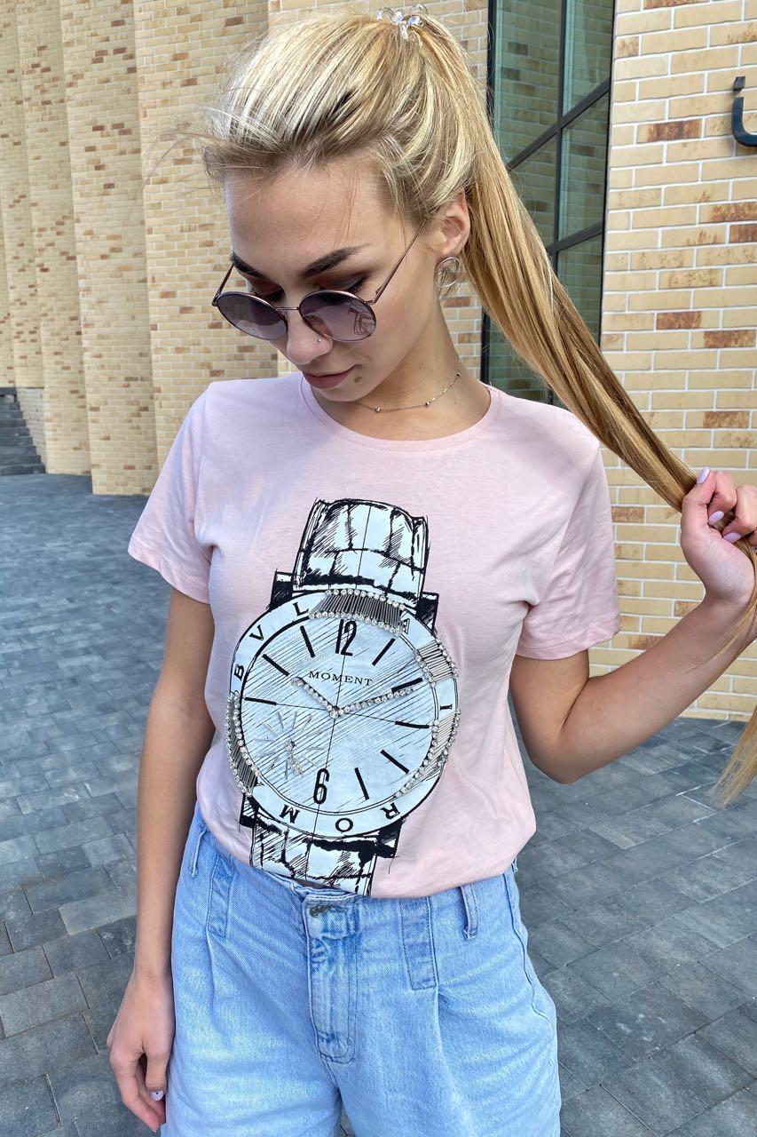 Красивая футболка женская с принтом и вышивкой камнями  LSK - пудра цвет