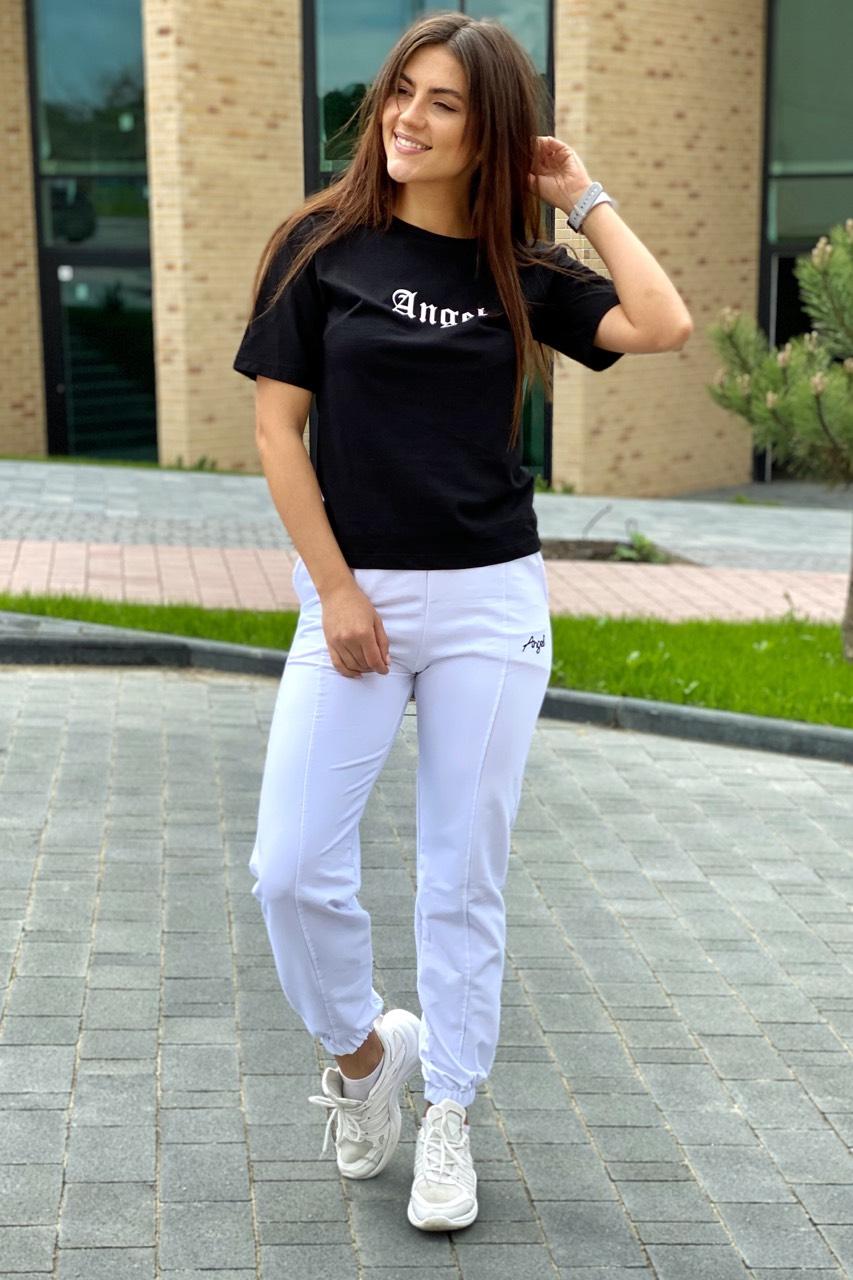 Спортивный костюм футболка и штаны на манжетах  Crep - белый с черным цвет